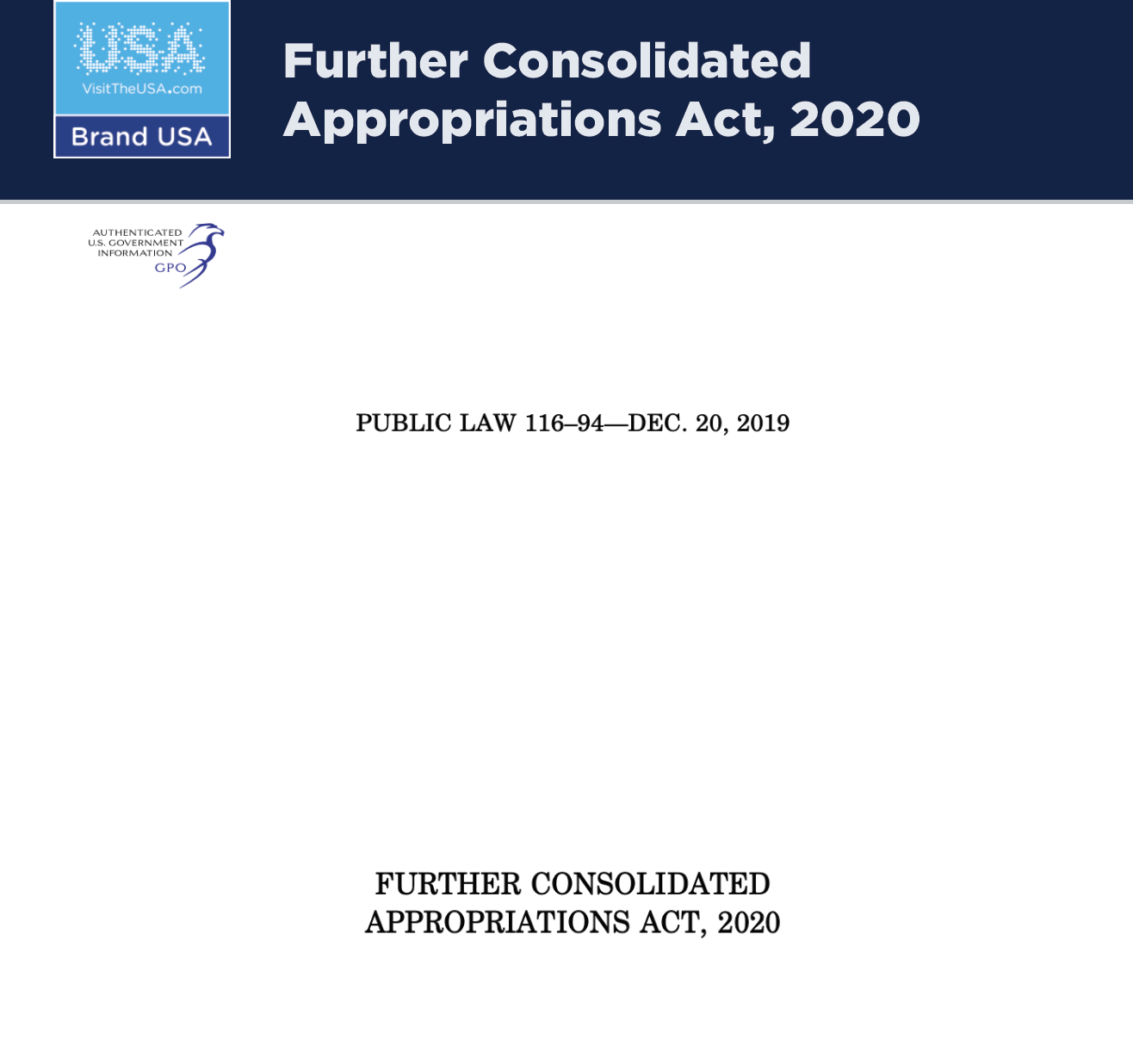 Further Consolidated Appropriations Act, 2020