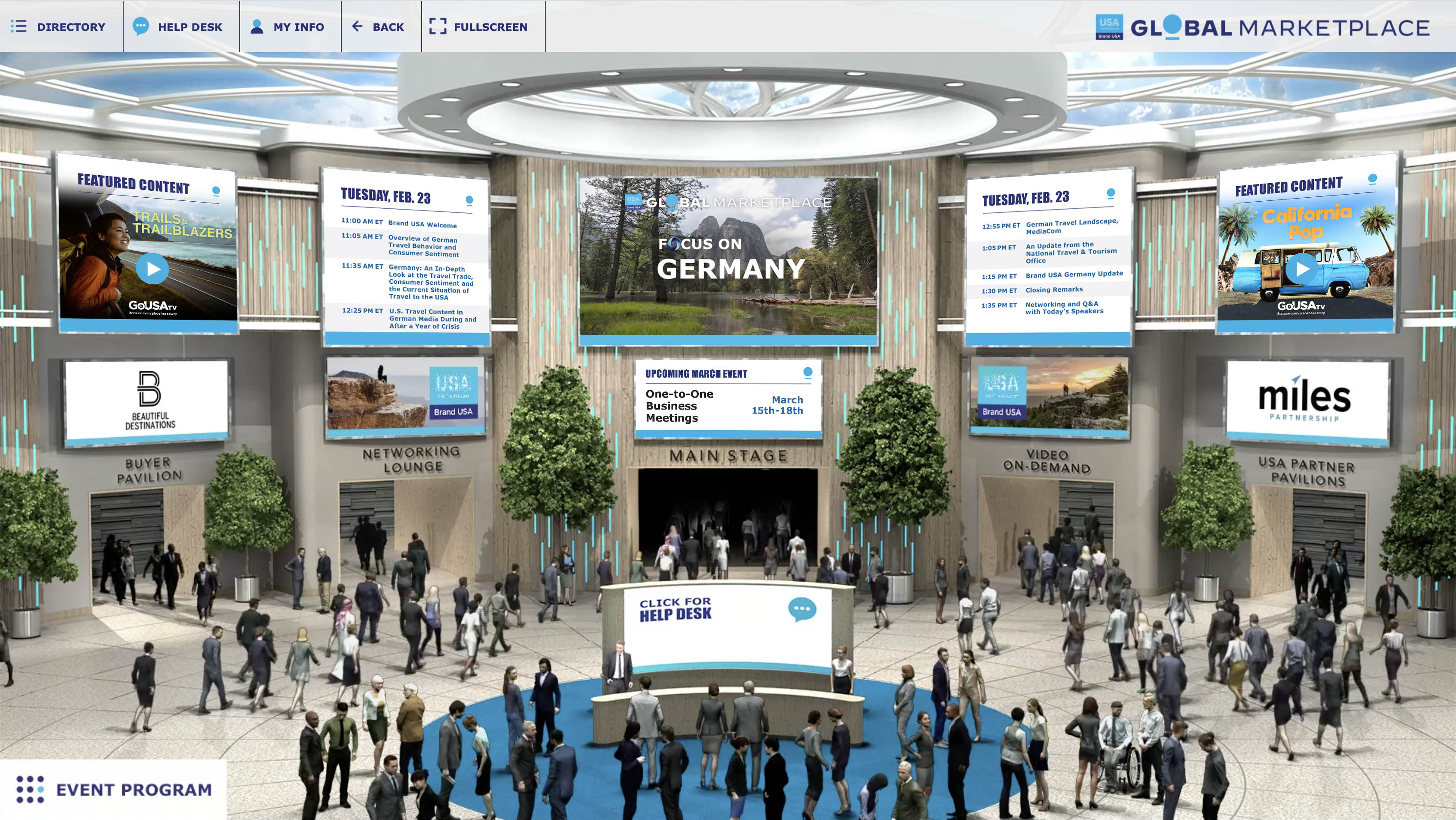 U.S. partners and member of the German travel trade connected via Brand USA Global Marketplace on February 23, 2021