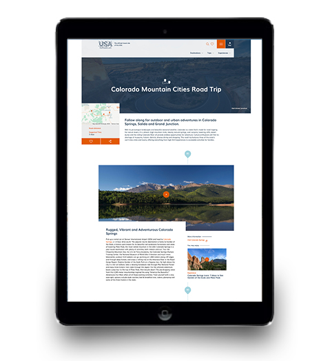 a preview of the VisitTheUSA site highlighting Colorado Mountain cities road trips