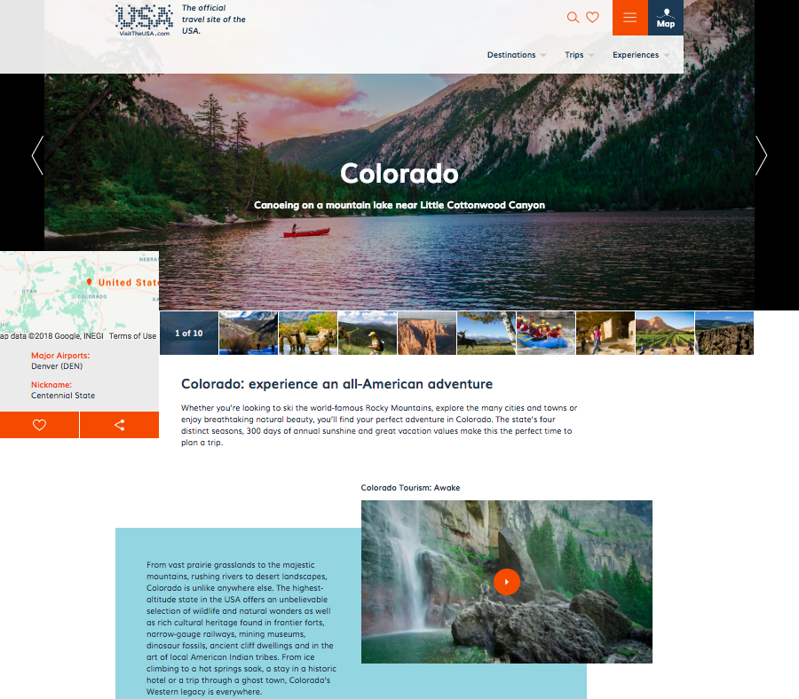 a preview of the VisitTheUSA Colorado page
