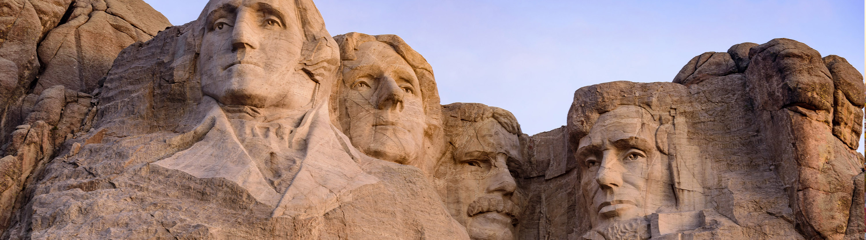 Four presidents' faces carved into a mountain