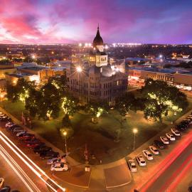 Sky view of the county courthouse in Denton, TX