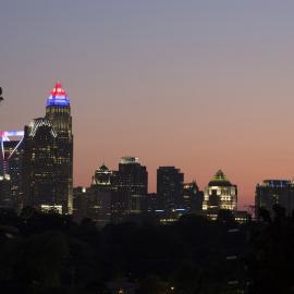Skyline of Charlotte, North Carolina at Sunset.