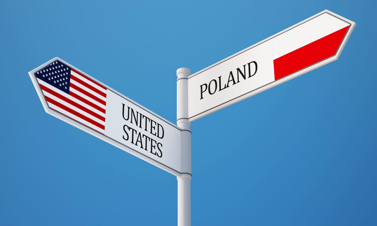 U.S. and Poland directional street sign