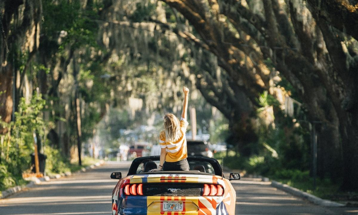 United Stories' themed convertible driving through St. Augestine, Florida