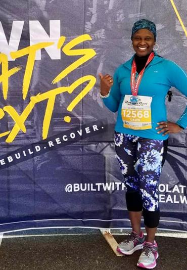 Dawn Morgan after completing a half marathon in Washington, DC.