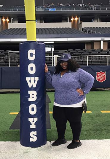 Jevonya Hughes at AT&T Stadium in Arlington, Texas