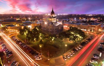 Sky view of the county courthouse in Denton, Texas