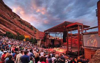 View of Stage During Sunset at Colorado Red Rocks Amphitheater