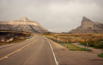 Highway view of Scotts Bluff National Monument