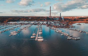 View of the harbor in Espoo, Finland on a sunny autumn day