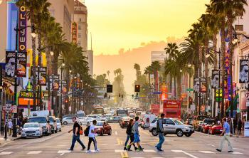 Downtown street view of Hollywood California