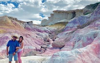 Hikers pose for picture at the Paint Mines in Colorado