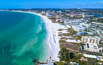 Aerial view of the beach in Sarasota, Florida