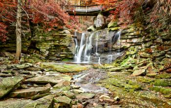View of a waterfall during autumn within Tucker County, West Virginia