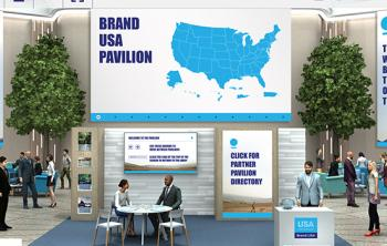 U.S. exhibitor-travel trade meeting at the Brand USA Pod on Brand USA Global Marketplace