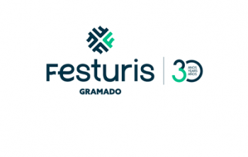 Festuris Gramado text and logo with a green and dark blue, 30 year logo on the right side