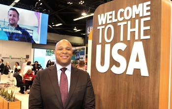 Colin Skerritt, Brand USA's newly-appointed regional director in Canada, on the floor at IPW 2019 in Anaheim, California.