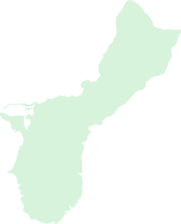 An hovered outline map of the island of                                     Guam