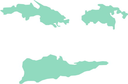 An outline map of the U.S. Virgin Islands