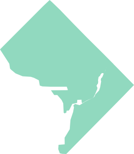 An outline map of Washington D.C.