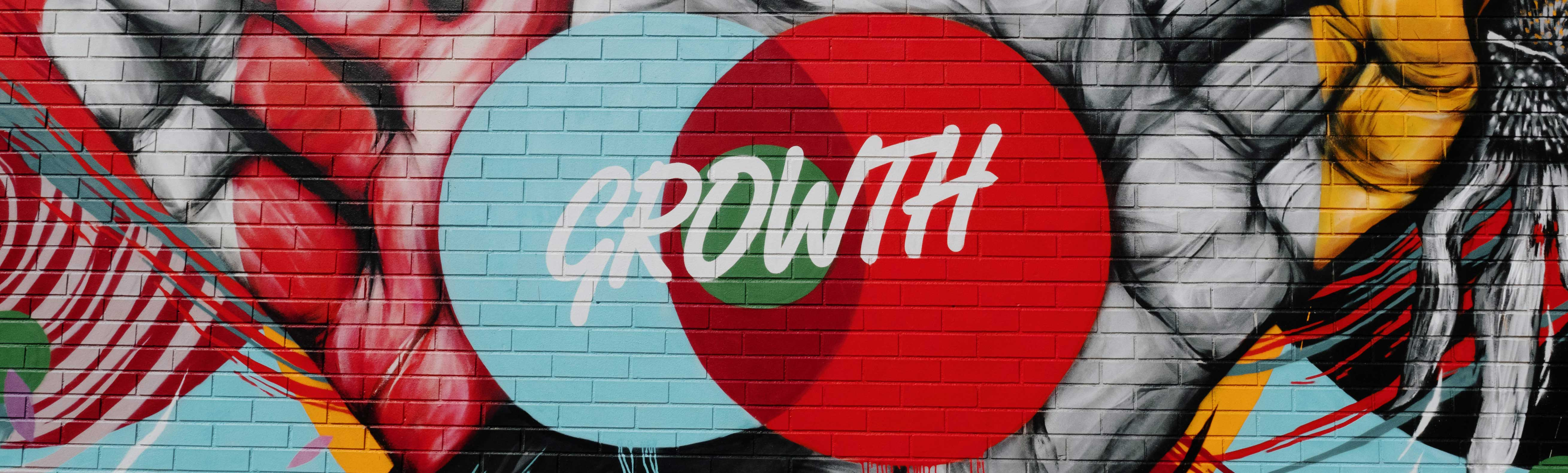 "Graffiti Art with words ""Growth"" in Detroit, Michigan"